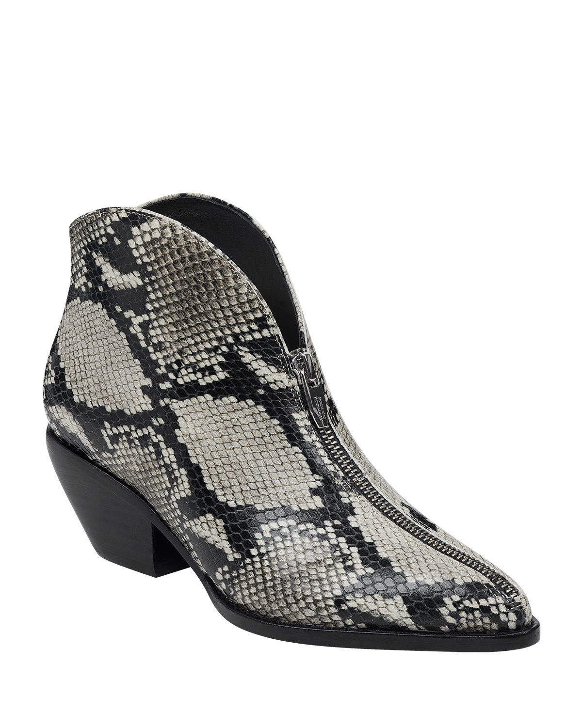 Hamish Snake-Embossed Leather Zip Booties