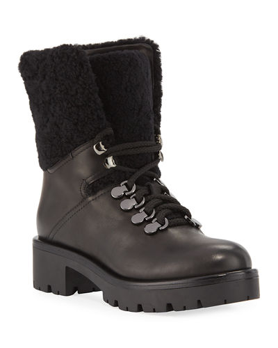 Jamie Shearling Lace-Up Booties