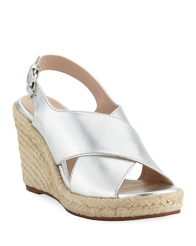 Paris Metallic Espadrille Wedge Sandals