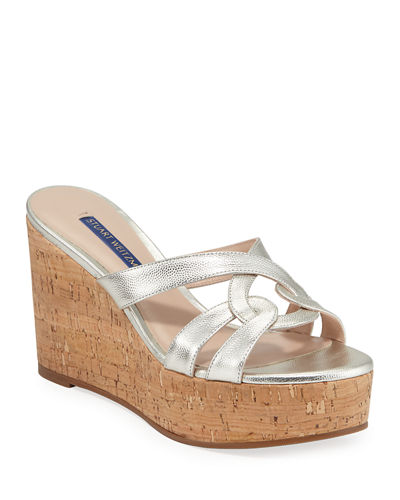 Cadence Metallic Leather Wedge Sandals