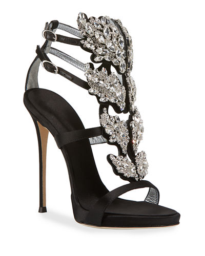 Satin Wing Jeweled Sandals