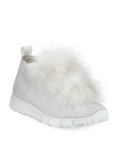 Norway Metallic Sneakers With Fur Trim