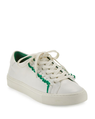 Ruffle Leather Low-Top Sneakers