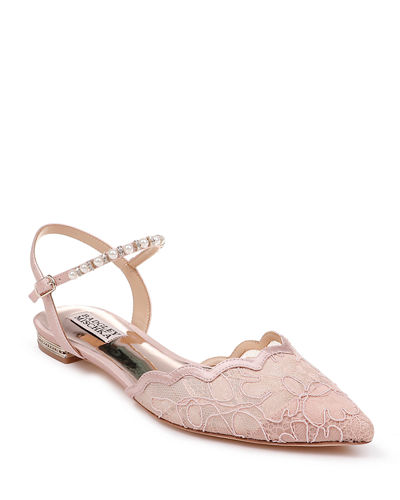 Lennon Lace Ballet Flats with Pearly Ankle Strap