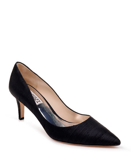 Badgley Mischka Lana Silk Mid-Heel Pumps