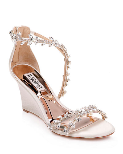 Feather Crystal Wedge Sandals