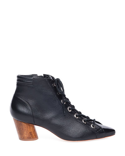 Bernardo Francie Leather Lace-Up Booties