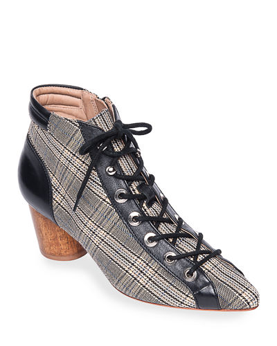 Francie Leather Lace-Up Booties