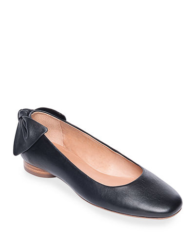 Bernardo Eloise Leather Bow Ballet Flats