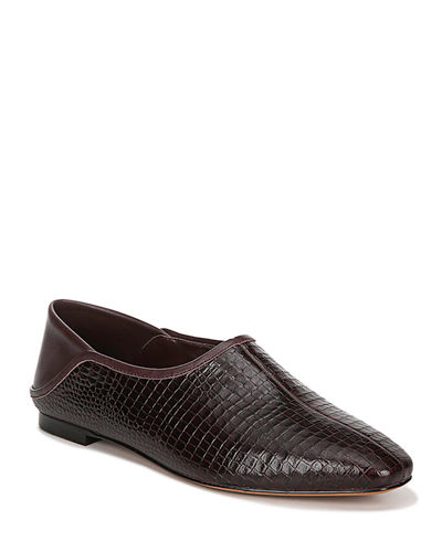 Branine Alligator-Embossed Slip-On Flats
