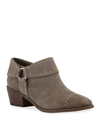 Sage Weatherproof Studded Suede Harness Booties