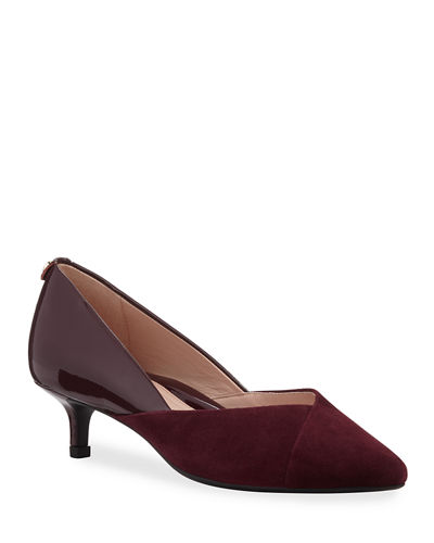 Natania Weatherproof Suede and Patent Pumps