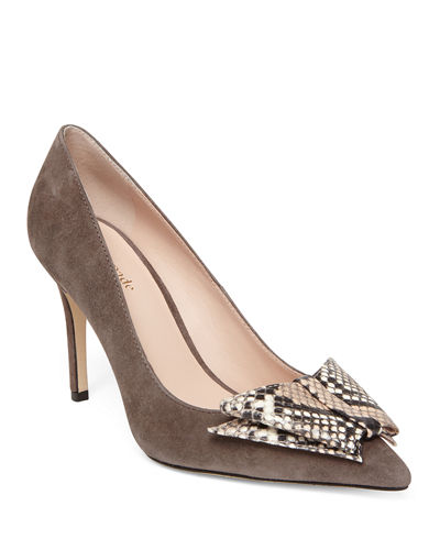 Vanna Suede Snake-Print Bow Pumps