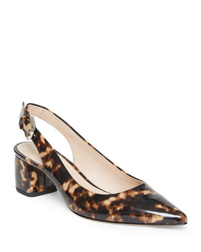 Mika Tortoise-Printed Leather Slingback Pumps
