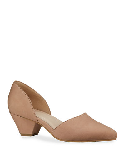 Rumi Low-Heel Nubuck Pumps