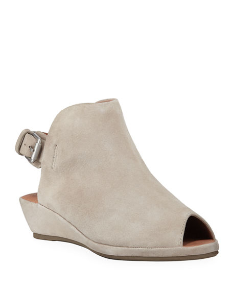 Gentle Souls Lyla Suede Peep-Toe Wedge Sandals