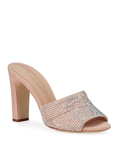 Shimmery Crystal Slide Sandals