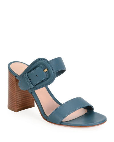 Leather Buckle Slide Sandals