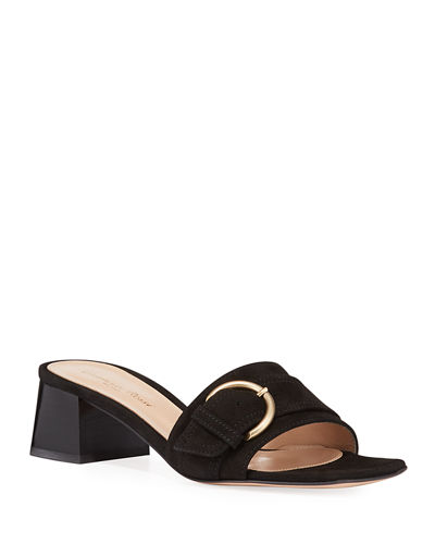 Suede Buckle Slide Sandals