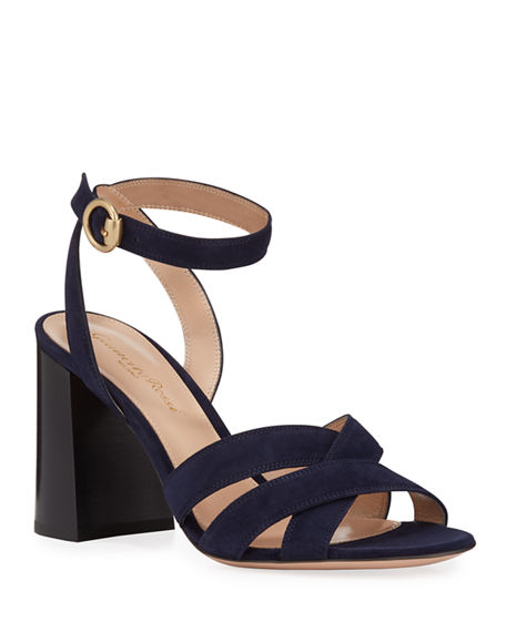 Gianvito Rossi Crisscross Chunky Ankle-Wrap Sandals