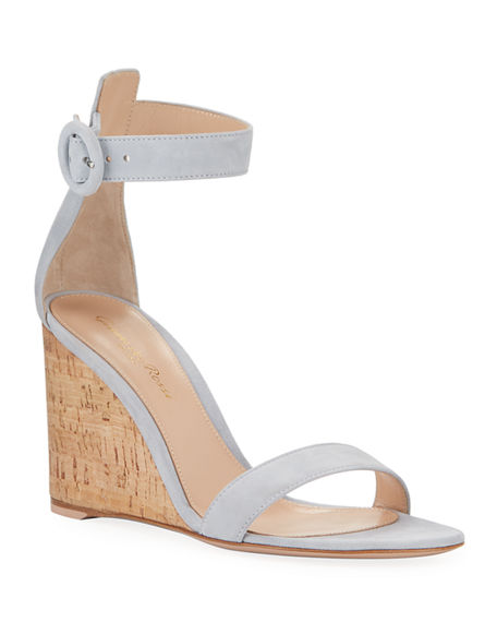 Gianvito Rossi Suede Cork-Wedge Sandals