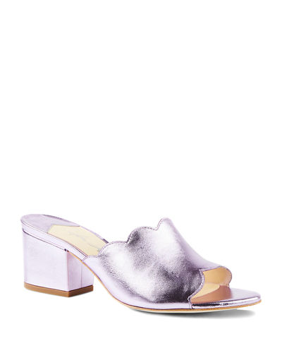 Chiqui Metallic Block-Heel Slide Sandals