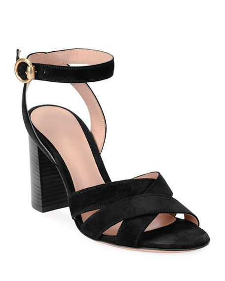 Gianvito Rossi Crisscross Suede Ankle-Strap Sandals
