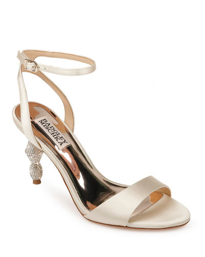 Evamarie Ankle-Wrap Sandals with Crystal Heel