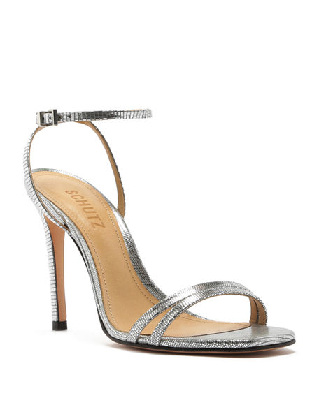 Schutz Altina Strappy Metallic Leather Sandals