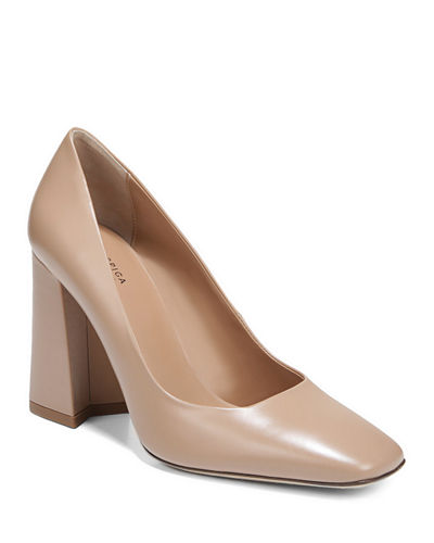 Beatrice Leather Square-Toe Pumps