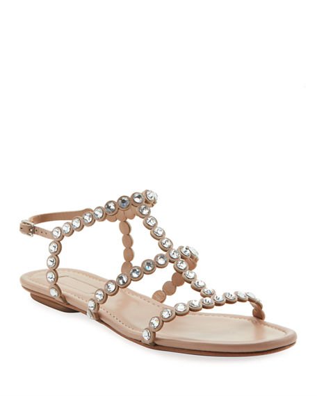 Aquazzura Tequila Jeweled Flat Sandals
