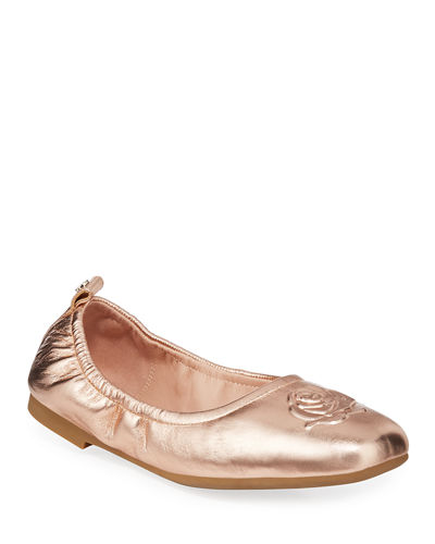 Raquel Rose Weatherproof Metallic Leather Ballet Flats