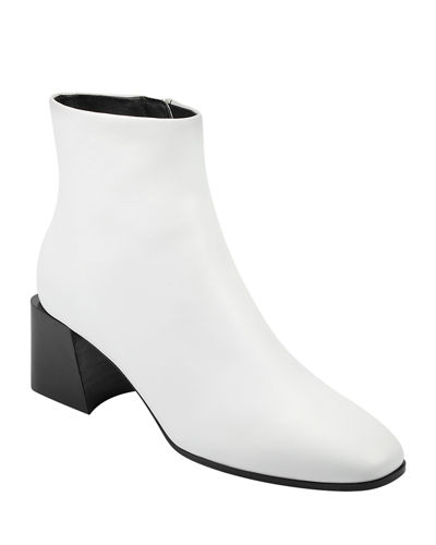 Mandel Leather Block-Heel Booties