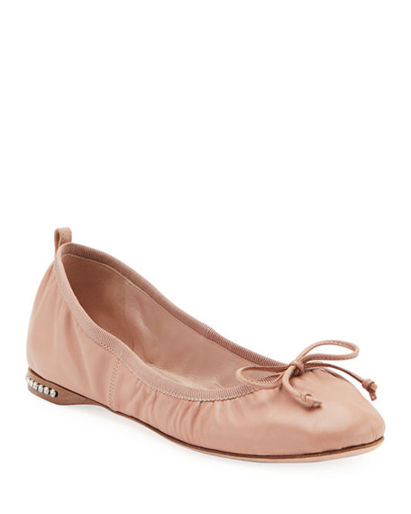 Miu Miu Flat Leather Ballet Flats with Jeweled Heel