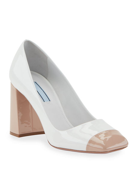 Prada Patent 85mm Cap-Toe Pumps