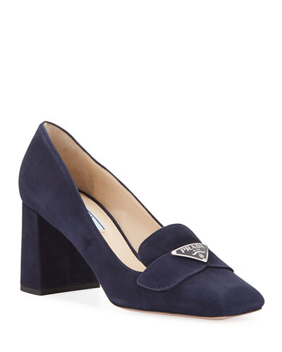 Suede Logo Loafer Pumps