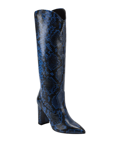 Marc Fisher LTD Uday2 Python-Print Knee Boots