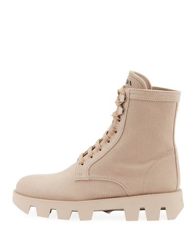 Prada Lug-Sole Canvas Combat Boots