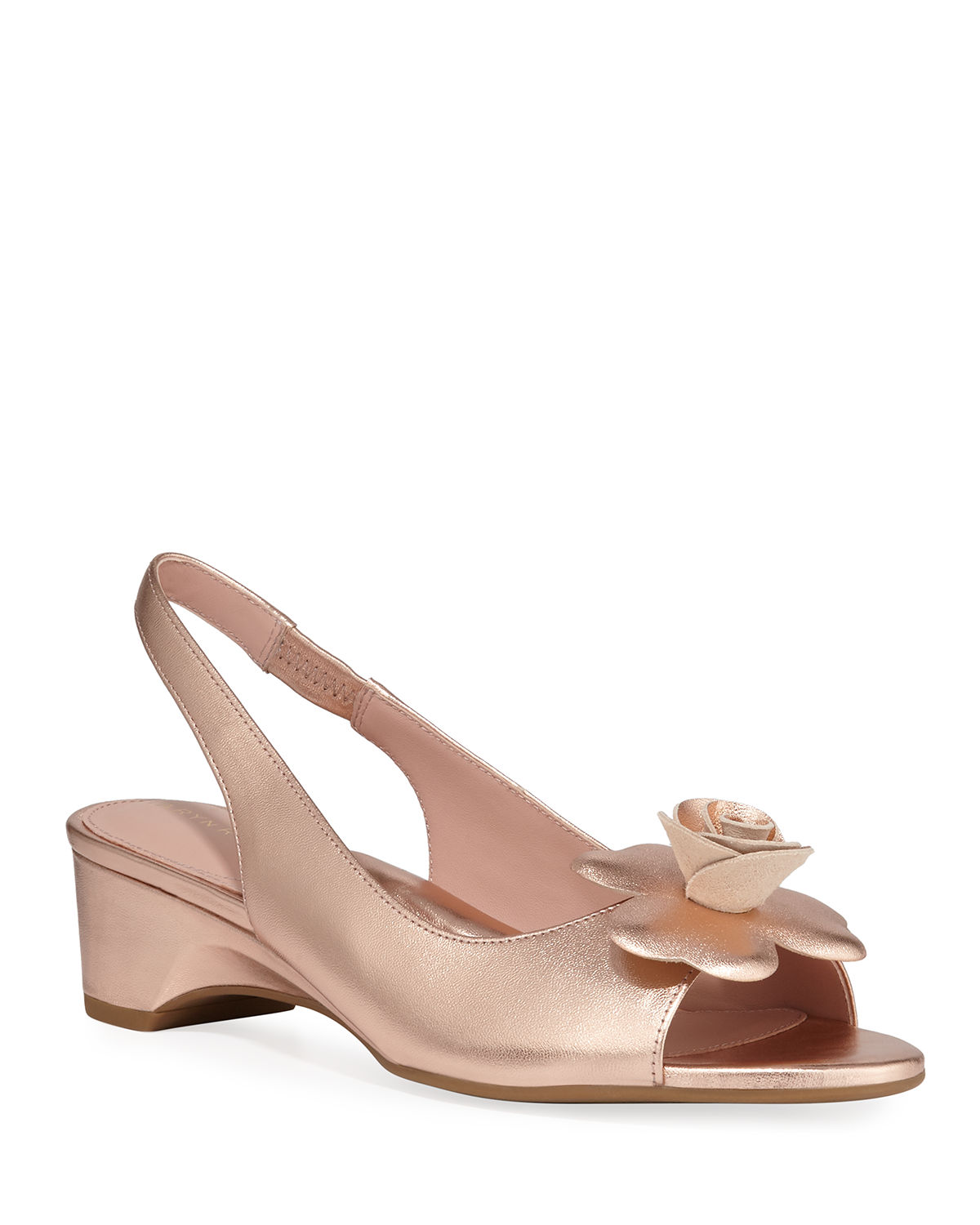 Neva Metallic Demi-Wedge Flower Sandals