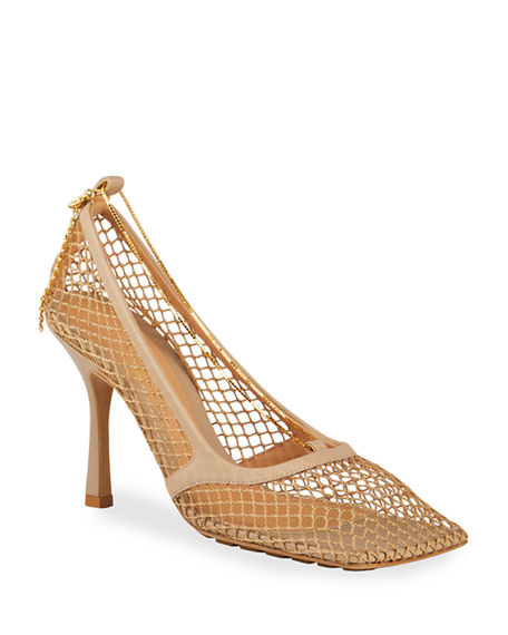 Bottega Veneta Net Chain Square-Toe Pumps