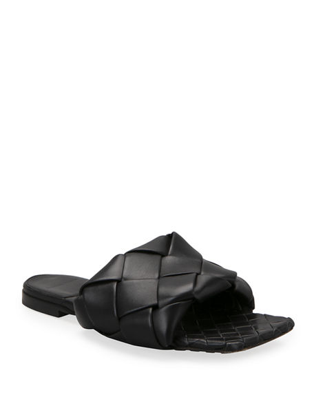Bottega Veneta Puffy Intreccio Square-Toe Flat Slide Sandals