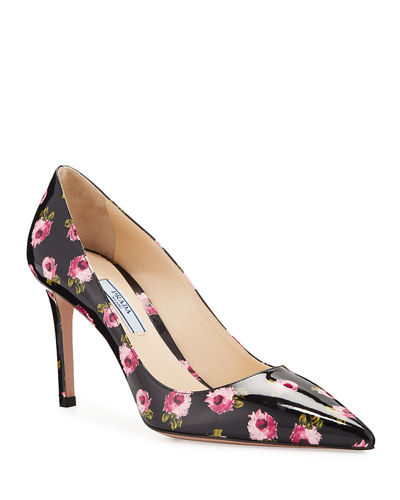 Flower-Print Patent Leather Pumps