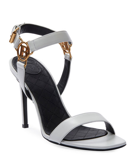 Image 1 of 4: Balmain Pernille Medallion Leather Sandals