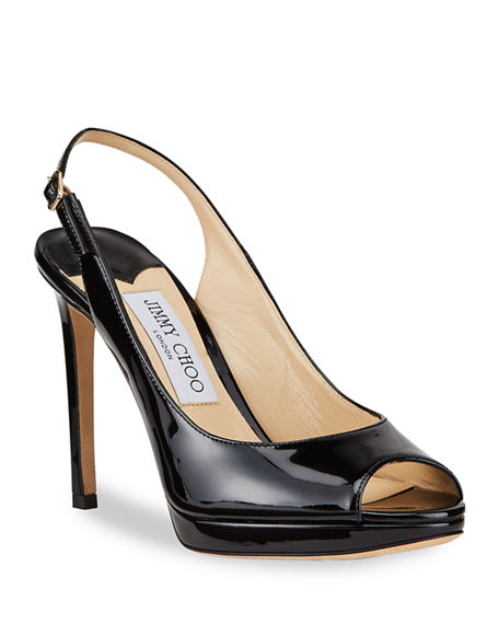 Image 1 of 4: Jimmy Choo Nova Patent Leather Peep-Toe Slingback Pumps