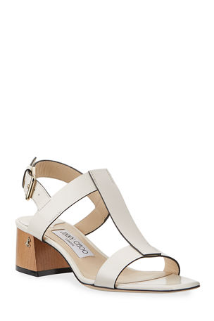 Jimmy Choo Jin Leather Block-Heel Sandals