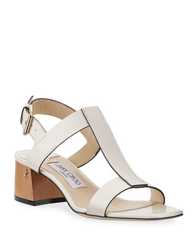 Jin Leather Block-Heel Sandals
