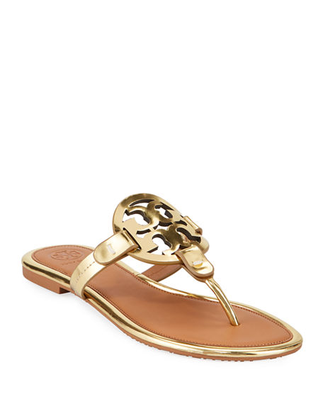 Tory Burch Miller Logo Flat Sandal Taupe Neiman Marcus