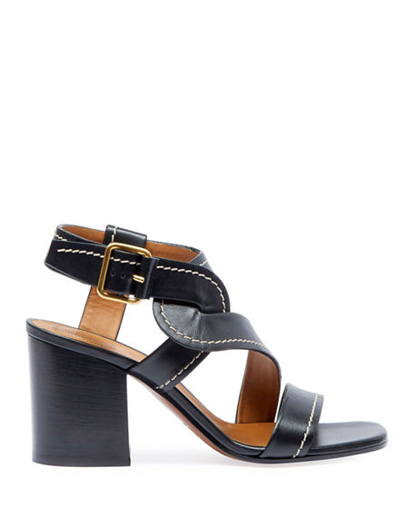 Image 2 of 4: Chloe Candice Topstitch Leather Block-Heel Sandals