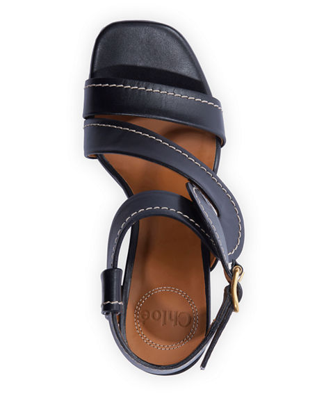 Image 3 of 4: Chloe Candice Topstitch Leather Block-Heel Sandals
