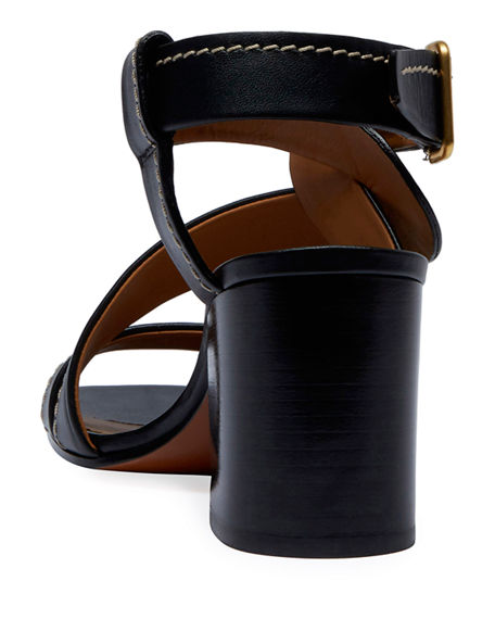 Image 4 of 4: Chloe Candice Topstitch Leather Block-Heel Sandals
